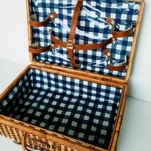 Other - Vintage Wicker Picnic Basket Case Handles Decor